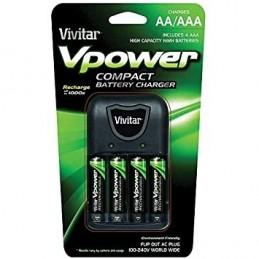 Vivitar Chargeur pour piles AA/AAA NiMH avec 4 piles AAA incluses